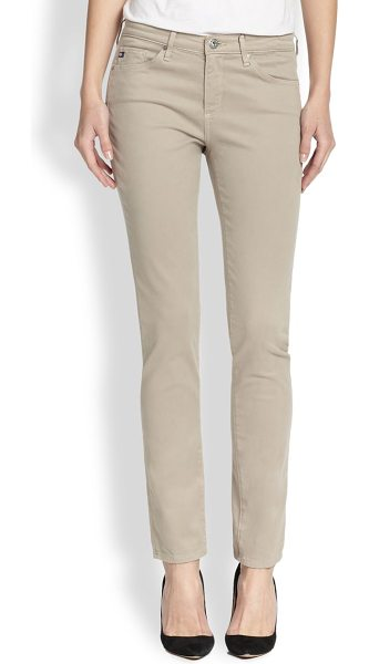 AG Adriano Goldschmied Prima sateen slim straight-leg jeans in biscuitbeige - EXCLUSIVELY AT SAKS. These slim straight-leg jeans are...