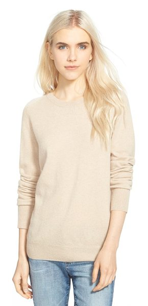 AG Adriano Goldschmied rylea crewneck cashmere sweater in light sand - The decadent softness of pure cashmere elevates a...