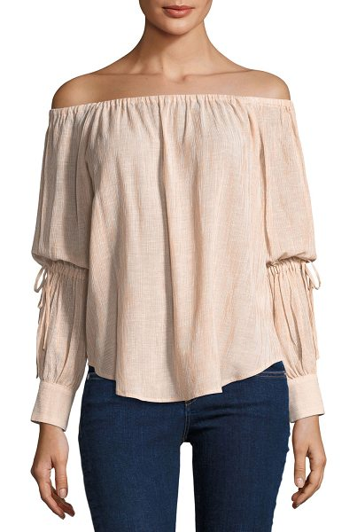 "AG ADRIANO GOLDSCHMIED Tallulah Off-the-Shoulder Drawstring-Sleeve Linen-Blend Top - AG ""Tallulah"" top in textured linen-blend...."