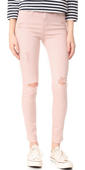 AG Adriano Goldschmied the farrah skinny ankle jeans in interstellar worn/rose quartz - Shredded holes and raw cuffs add a worn feel to these...