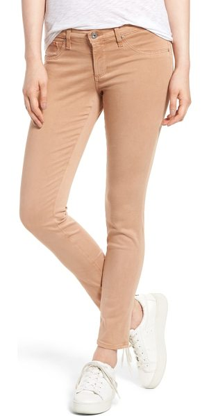 AG Adriano Goldschmied the legging ankle jeans in sulfur pale terra cotta - Cut in a curve-sculpting silhouette with a sateen sheen,...