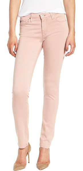 AG Adriano Goldschmied 'the prima' cigarette leg skinny jeans in sulfur misty mauve - Tonal stitching helps streamline the silhouette of...