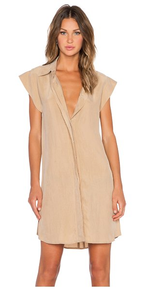 AGAIN Chestnut dress in tan - Poly blend. Dry clean only. Unlined. Button front...