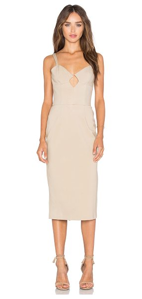 AGAIN Dylan Dress in beige - Poly blend. Dry clean only. Unlined. Plastic side seam...