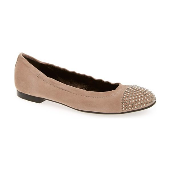 AGL 'blakely' studded cap toe ballet flat in beige leather - Regimented rows of gleaming dome studs pepper the cap...