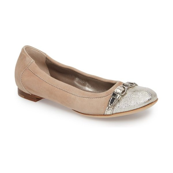 AGL cap toe ballet flat in golden leather - A sleek cap toe is a refreshing upgrade for a versatile...