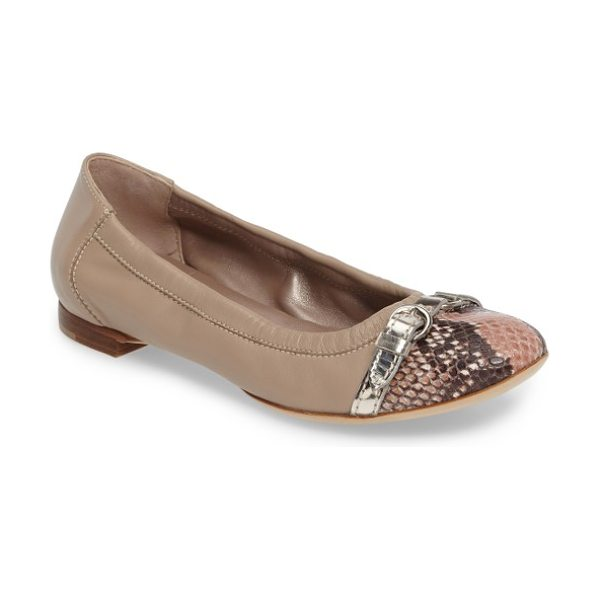 AGL cap toe ballet flat in shell snake/ sand leather - A sleek cap toe is a refreshing upgrade for a versatile...