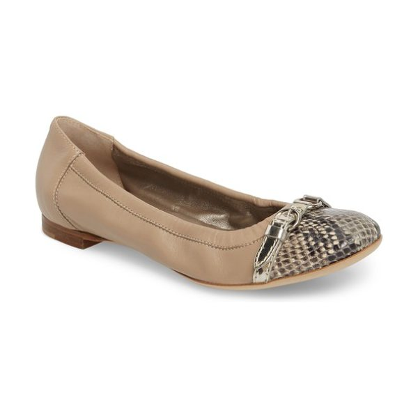 AGL cap toe ballet flat in taupe leather - This refined flat features the iconic AGL silhouette...