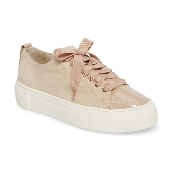 AGL cap toe platform sneaker in taupe suede - Ribbons of silky, frayed burlap lace softly up the front...