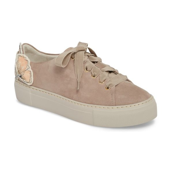 AGL floral embellished sneaker in taupe suede - Sequined floral appliques bloom at the heel of a plush...