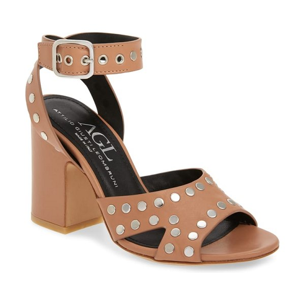 AGL high studded sandal in brown