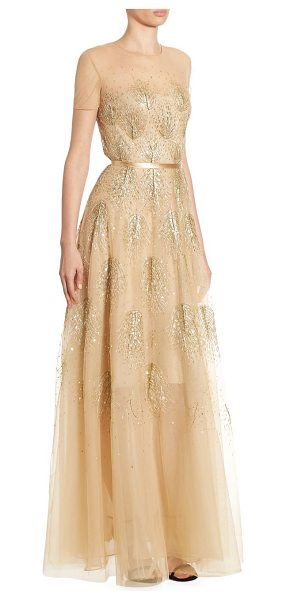 Ahluwalia asha beaded gown in gold - Radiant beaded gown in semi-sheer design. Roundneck....