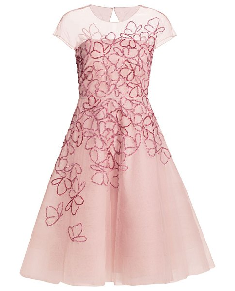 Ahluwalia butterfly-beaded tulle cocktail dress in light pink