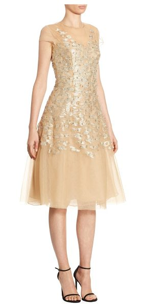 Ahluwalia richa metallic dress in gold - Metallic illusion dress in A-line silhouette. Illusion...