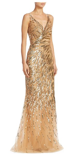 Ahluwalia rosiers sequin gown in gold - Radiant sequin embellished gown in V-neck style.V-neck....