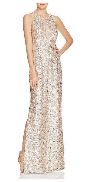 Aidan Aidan Sequin Illusion Gown in champagne - Aidan Aidan Sequin Illusion Gown-Women