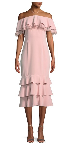 AIDAN BY AIDAN MATTOX Crepe and Lace Cocktail Dress in pink - Aidan by Aidan Mattox crepe and lace cocktail cocktail...
