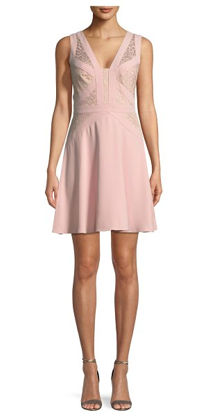 Aidan by Aidan Mattox Crepe and Lace Sleeveless Mini Cocktail Dress in pink - Aidan by Aidan Mattox crepe and lace mini cocktail...