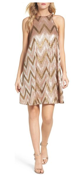 Aidan by Aidan Mattox embellished swing dress in rose gold - Satin embroidery and sequin chevron stripes look all the...