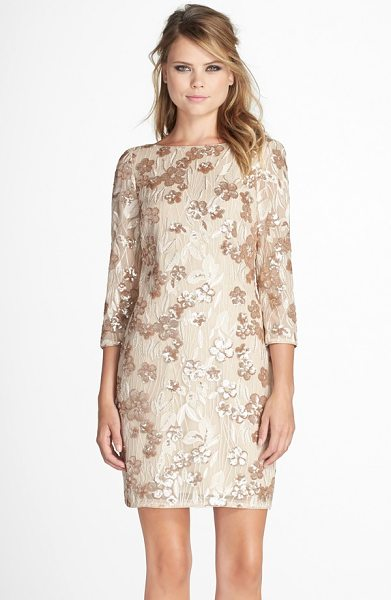Aidan by Aidan Mattox embroidered floral sequin dress in champagne - Embroidered sequined flowers lend delightful shimmer to...