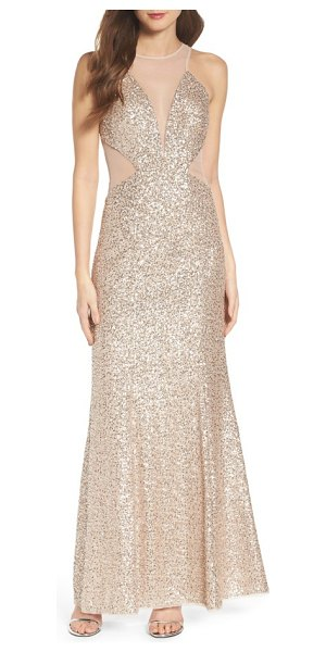 Aidan by Aidan Mattox illusion cutout sequin mermaid gown in champagne silver - Sheer insets at the plunging necklines and side cutouts...