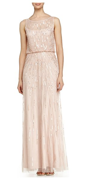 Aidan by Aidan Mattox Illusion-Neck Beaded Gown in petal - Aidan Mattox tulle evening gown bedecked with sequins in...