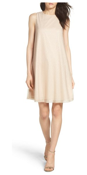 Aidan by Aidan Mattox mesh swing dress in champagne silver - Glinting lines of sparse, embroidered beads and sequins...