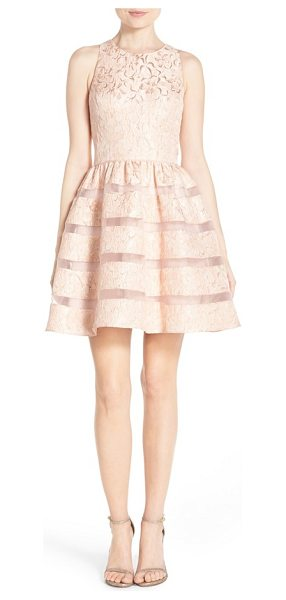 AIDAN BY AIDAN MATTOX metallic jacquard fit & flare dress - Wispy organza stripes stretch across the full, pleated...
