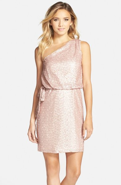 Aidan by Aidan Mattox one-shoulder sequin blouson dress in petal - Softly shimmering sequins illuminate a stunning...