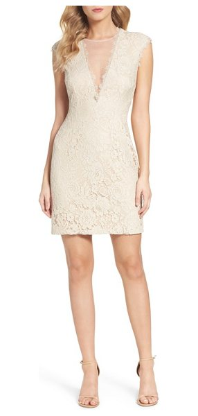 Aidan by Aidan Mattox open back lace sheath dress in champagne - A daring take on classic cocktail attire, this svelte...