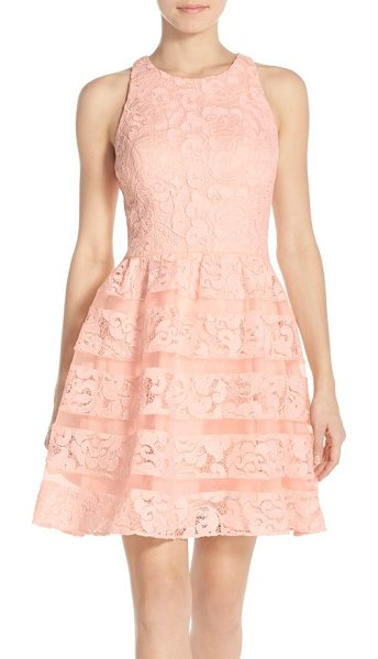 60d10af0c10 Aidan by Aidan Mattox organza shadow stripe lace fit   flare dress in blush  - Lustrous
