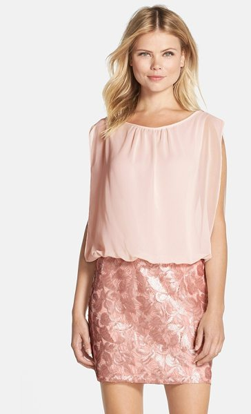 AIDAN BY AIDAN MATTOX sequin blouson dress - Flowy volume and shirring give a pretty blouson effect...