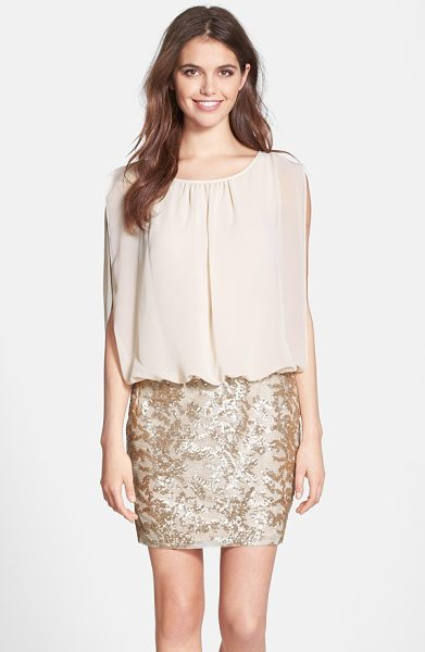 Aidan by Aidan Mattox sequin blouson dress in beige - Sheer chiffon veils a fitted bodice and is gathered at...