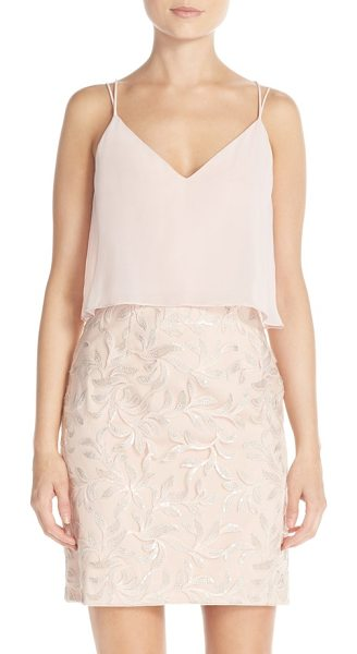 Aidan by Aidan Mattox sequin chiffon popover dress in blush multi - A flowy chiffon bodice eases the fitted sheath...