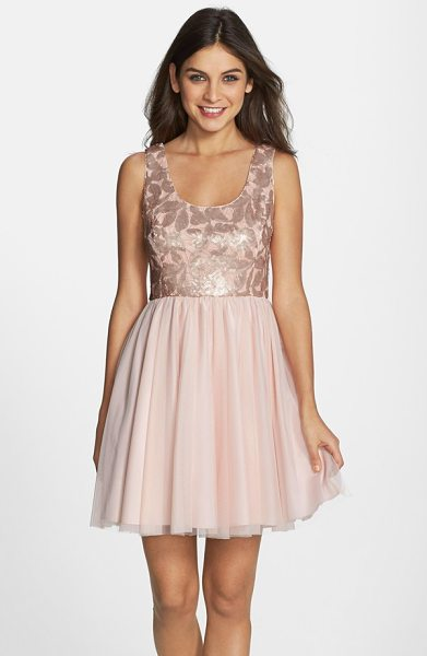 Aidan by Aidan Mattox sequined mesh fit & flare dress in petal - Satin-finish sequins in leafy shapes add an earthy vibe...