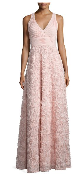 Aidan by Aidan Mattox Sleeveless Embroidered Ball Gown in blush - Aidan by Aidan Mattox ball gown features shirred bodice...