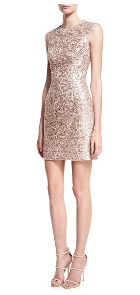 Aidan by Aidan Mattox Sleeveless Jewel-Neck Lace Cocktail Dress in rose gold - Aidan by Aidan Mattox cocktail dress in metallic lace....
