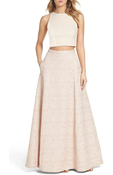 Aidan by Aidan Mattox two-piece gown in petal - A pop of midriff gives just-right edge to this soft,...