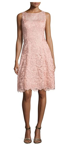 "Aidan Mattox Bato Sleeveless Lace Sheath Dress in apricot - Aidan Mattox ""Bato"" cocktail dress in lace. Approx...."