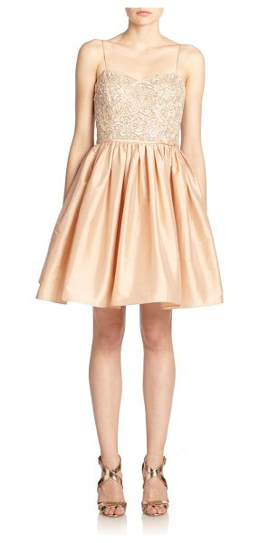 Aidan Mattox Bead-top party dress in blush - A sequined and beaded bustier dresses up this charming...