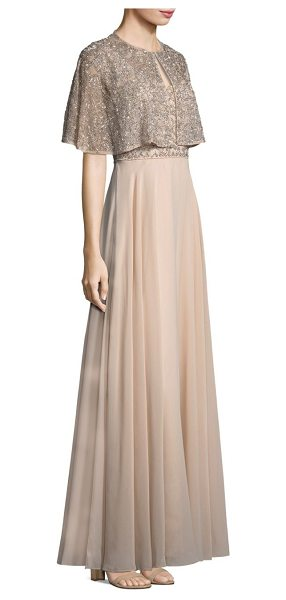 Aidan Mattox two-piece beaded a-line gown and cape in blush - Glimmering beads details a sweeping A-line dress...