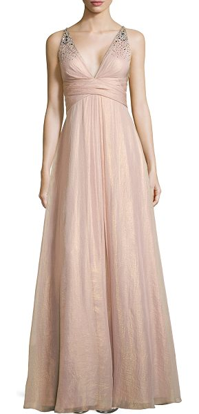 Aidan Mattox Beaded-bodice gown w/ crisscross back in blush - Aidan Mattox metallic chiffon gown with beading on front...