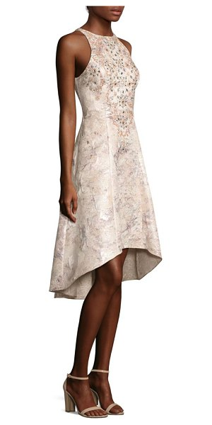 Aidan Mattox beaded brocade hi-lo dress in mink - Beaded embellishments enhance lustrous brocade dress....