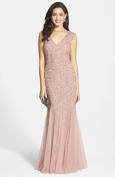 Aidan Mattox beaded cap sleeve gown in blush - A beautiful silhouette is the hallmark of a flattering...