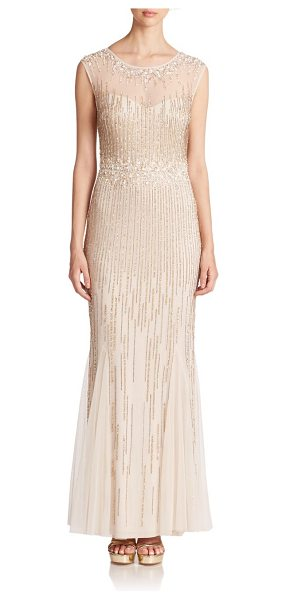 Aidan Mattox Beaded cap-sleeve illusion gown in light-gold - This ethereal evening dress will shimmer with your every...