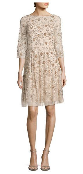Aidan Mattox beaded cocktail dress in champagne - Mesmerizing embellishments lend a feminine appeal....