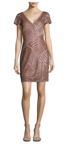 Aidan Mattox beaded cocktail dress in blush - Glittering sequined panels elevate this shift...