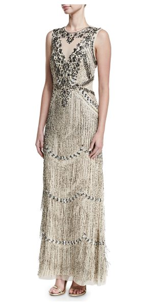 Aidan Mattox Beaded Deep-Neck Fringed Sleeveless Evening Gown in champagne - Aidan Mattox embellished evening gown with beaded...