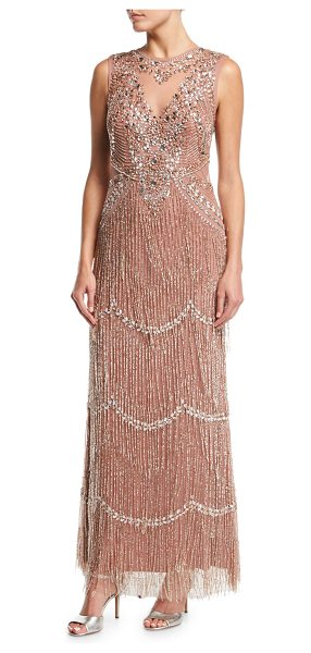 Aidan Mattox Beaded Deep-Neck Fringed Sleeveless Evening Gown in rose gold - Aidan Mattox embellished evening gown with beaded...