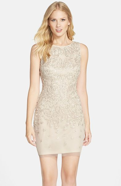 Aidan Mattox beaded embroidered sheath dress in champagne - Delicate floral embroidery and shimmering ivory beads...